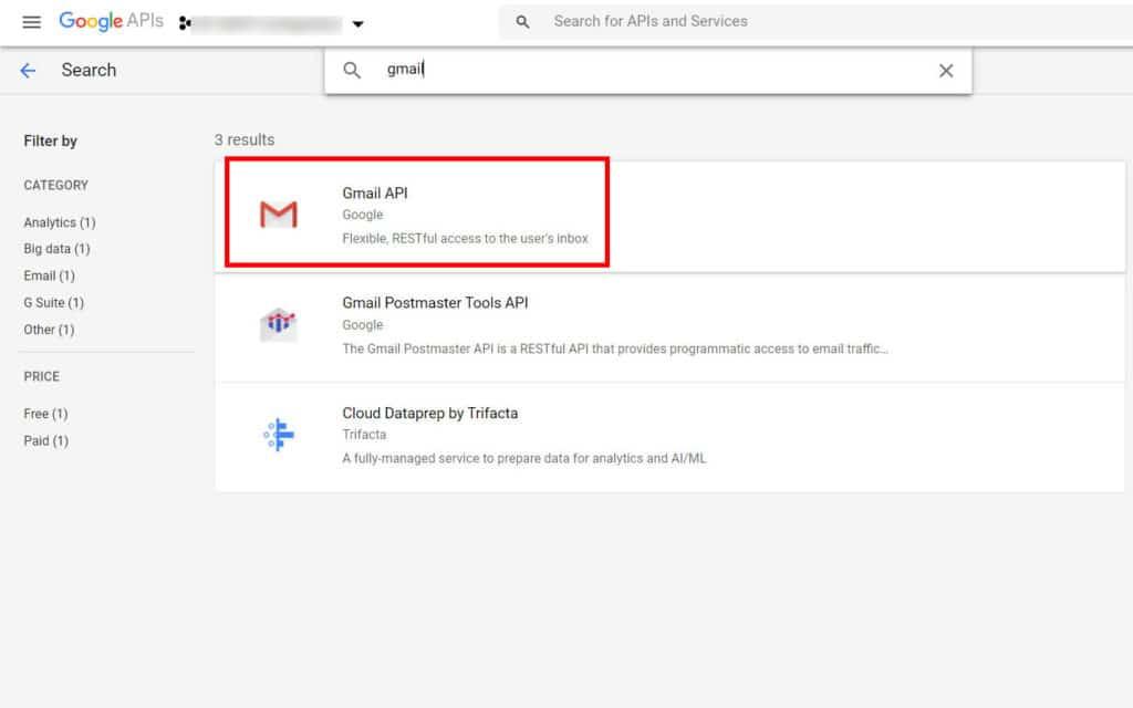 choose gmail API