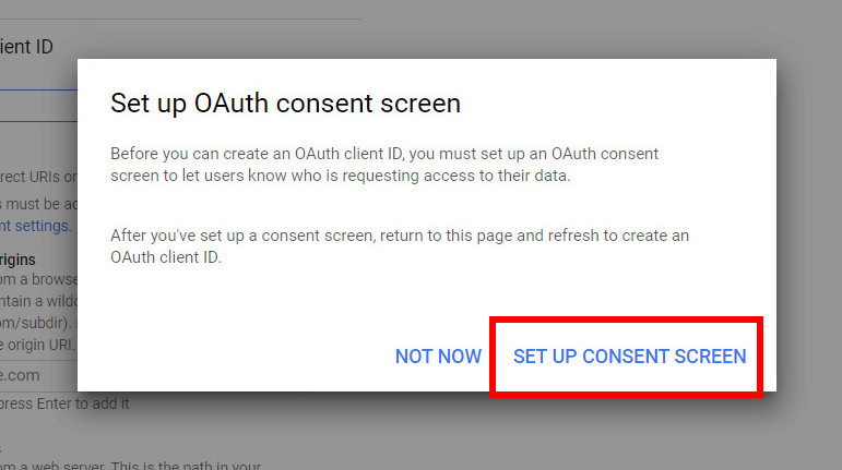 the OAuth Consent Screen
