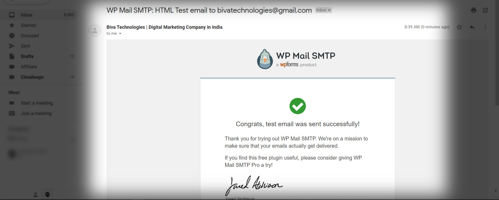 smtp fully configured