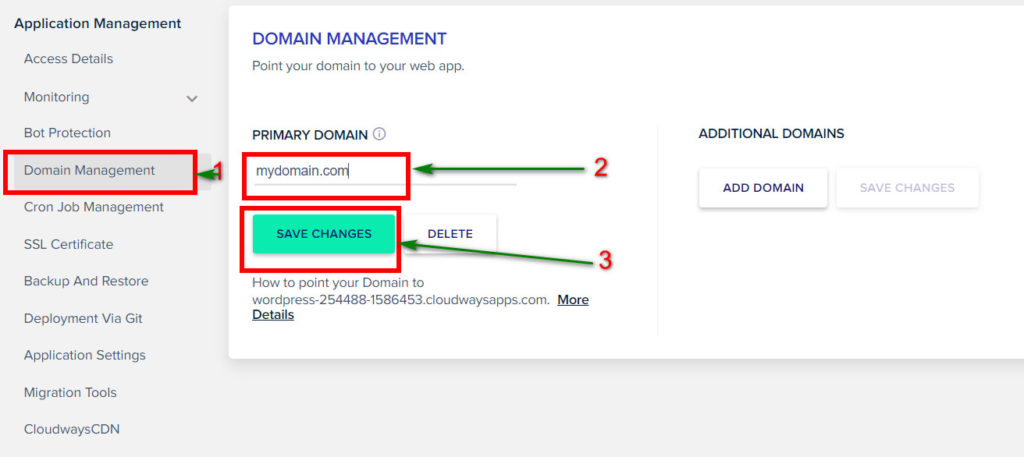 domain point in cloudways