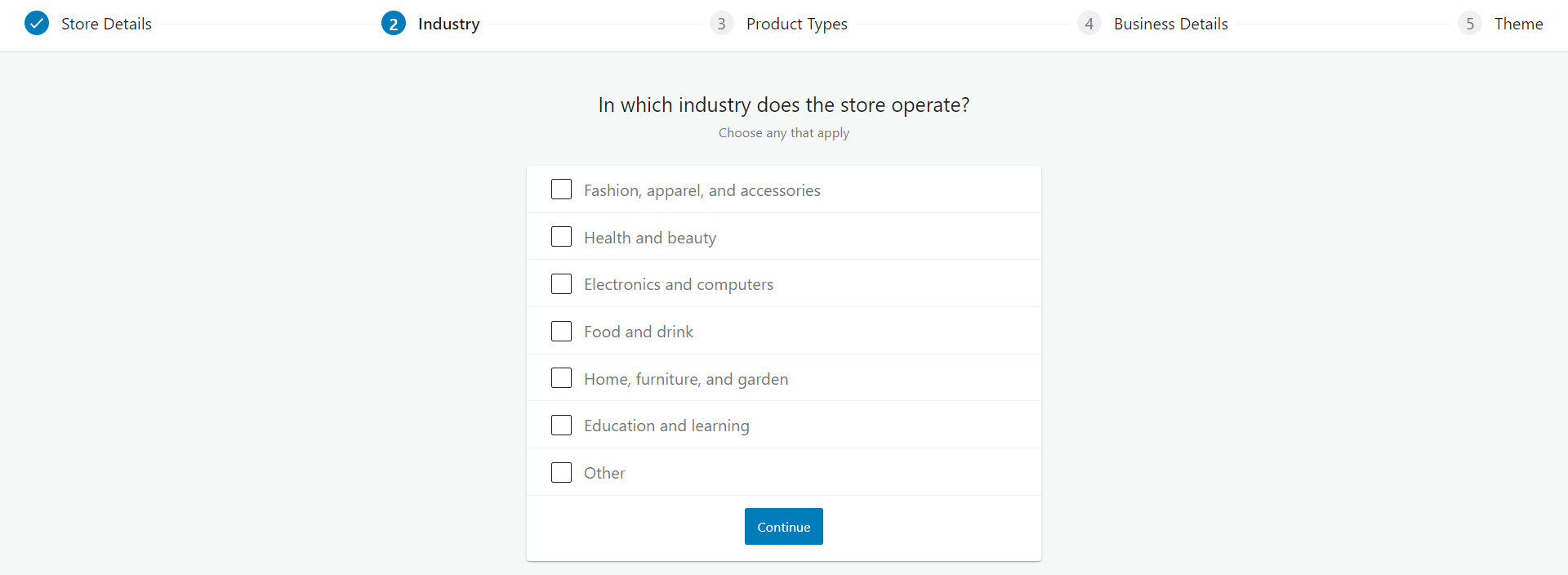 woocommerce industry type